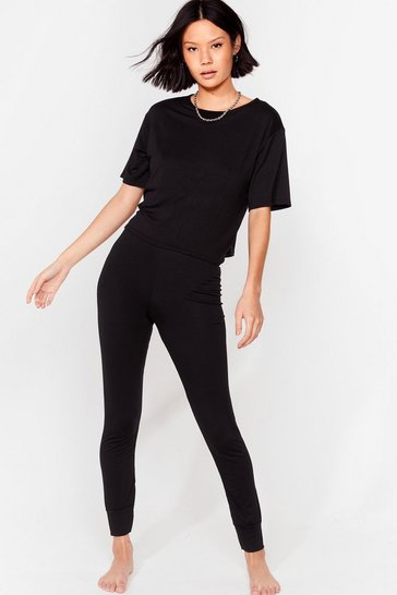 Black Back Where Tee Belong Jogger Pajama Set