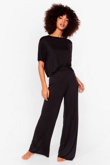 Black Leave 'Em on Bed Wide-Leg Pants Pajama Set