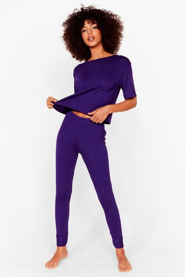 Purple Leave 'Em on Bed Wide-Leg Pants Pajama Set
