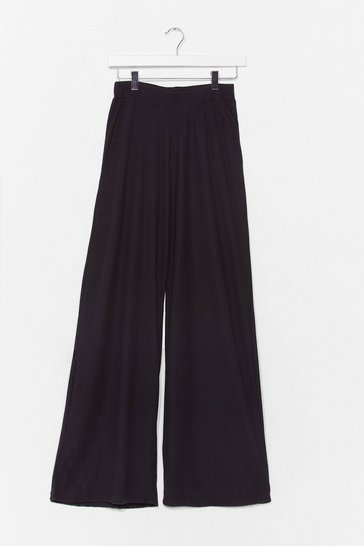 Black Let Loose Wide-Leg Lounge Trousers