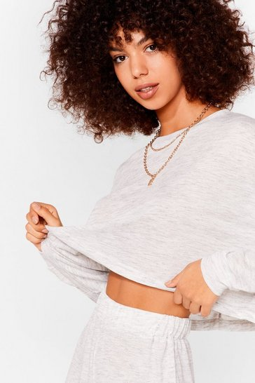 Grey marl Marl Long Sleeve Crop Top