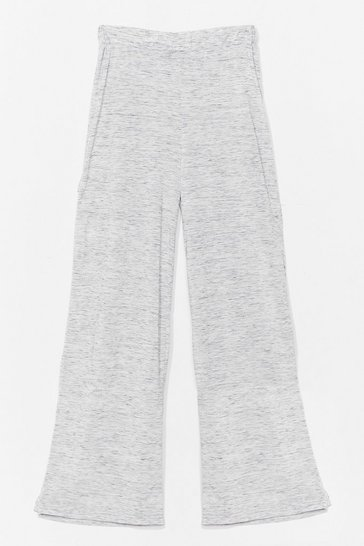 Grey marl Marl High Waisted Wide Leg Trousers