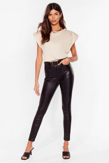 Black Get Coated High-Waisted Skinny Jeans