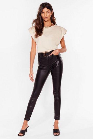 Black Get Coated High-Waisted Skinny Jeans