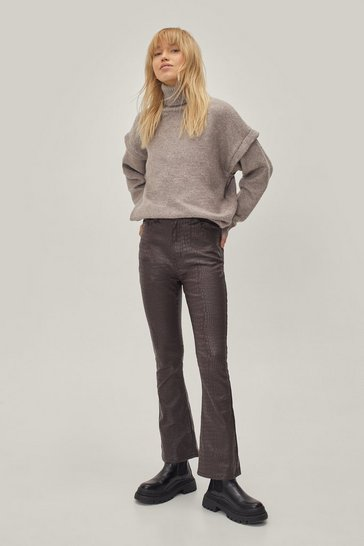 Brown Snake It to the Dancefloor Coated Flare Trousers