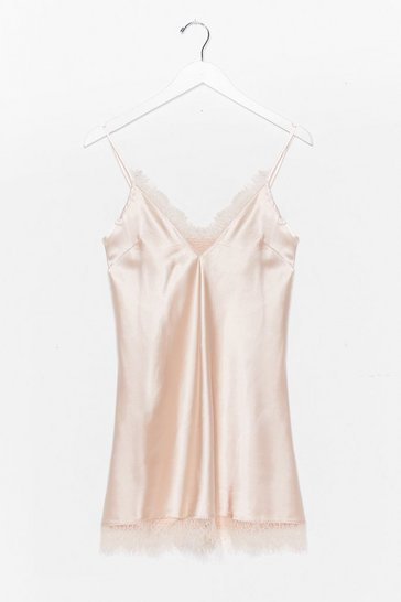Champagne Lace Talk About Tonight Satin Cami Nightie