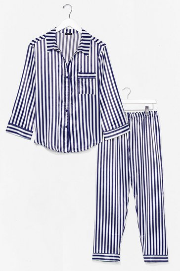 Navy Sweet Lovin' Satin Stripe Pajama Pants Set