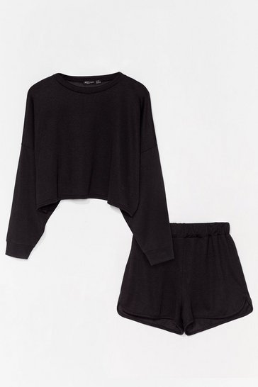 Black Runner Your Mouth Sweater and Shorts Lounge Set