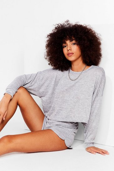 Grey marl Runner Your Mouth Sweater and Shorts Lounge Set
