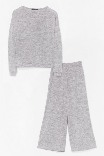 Grey marl Slow Motion Wide-Leg Pant Lounge Set