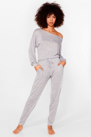 Grey marl Quiz Night Marl Top and Jogger Lounge Set