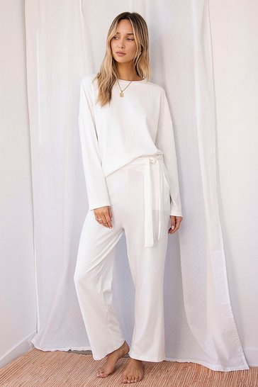 White Ribbed Top And Wide Leg Loungewear Set