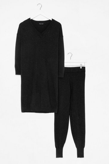 Black Knit's Not Happening Sweater and Legging Set