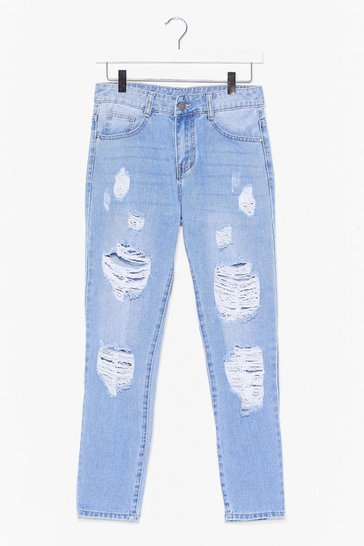 Light blue No Wash If's Distressed Mom Jeans