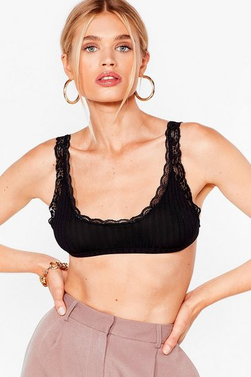 Black Lace Trim Scoop Neck Bra Top