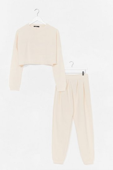 Ecru Our Plus One Cropped Sweatshirt and Jogger Set