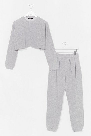 Grey Our Plus One Cropped Sweatshirt and Jogger Set