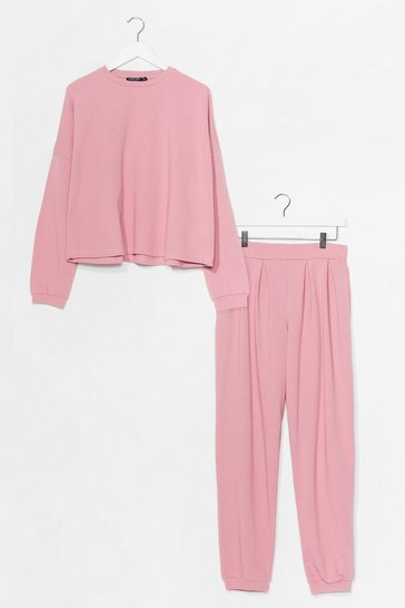 Blush Work Together Sweater and Pleated Jogger Set