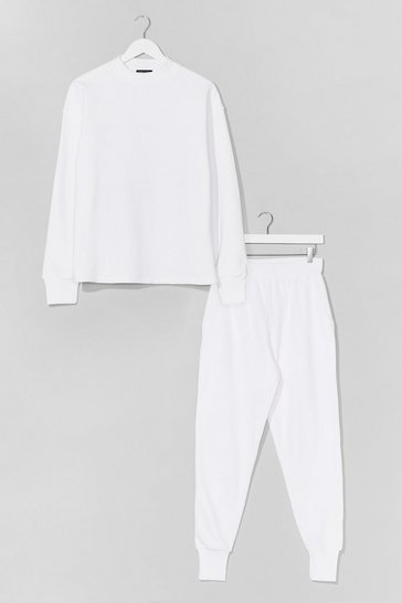 White Hold It Together Sweater and Jogger Set