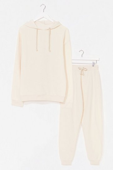 Ecru  Sorry We Are Late Relaxed Hoodie and Jogger Set