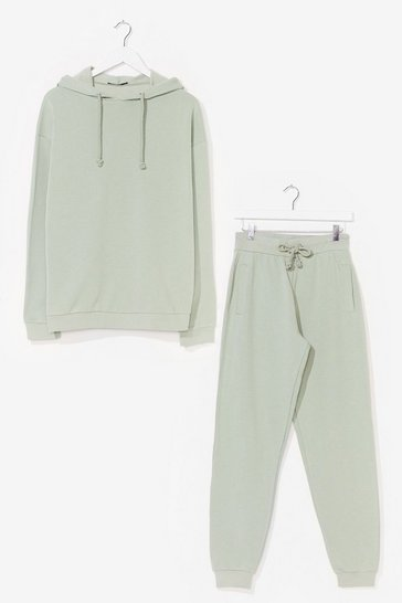 Sage  Sorry We Are Late Relaxed Hoodie and Jogger Set