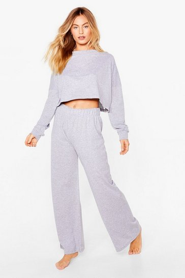 Grey Melange Jersey Boxy Jumper + Wide Leg Set