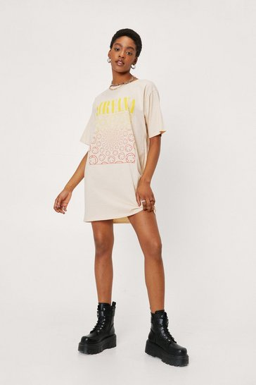 Natural Nirvana Graphic Band Mini T-Shirt Dress