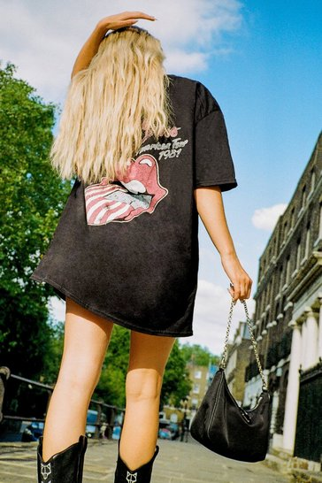 Black The Rolling Stones Graphic Band Tee Dress