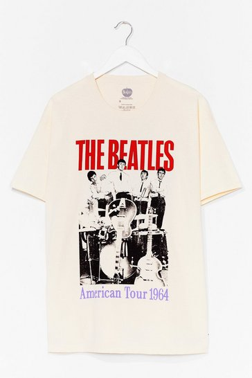 Natural The Beatles Graphic Band Tee Dress