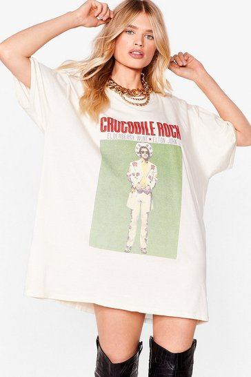 Natural Crocodile Rock Graphic Band Tee Dress