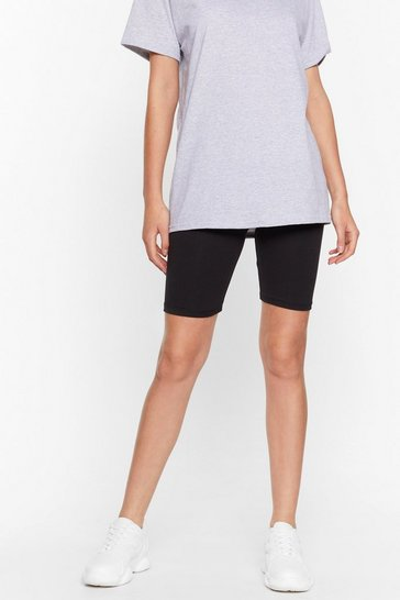 Black Longline No See High-Waisted Biker Shorts