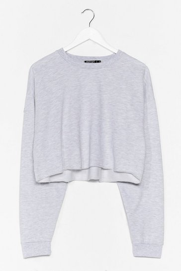 Grey marl Crop of Your Game Relaxed Sweatshirt