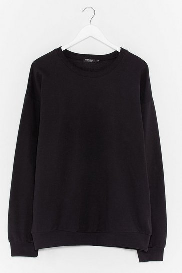 Black Oversized Jersey Sweatshirt