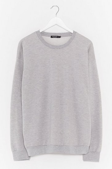 Grey marl Where There's a Chill Oversized Sweatshirt
