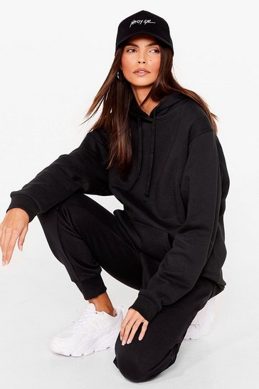 Black Casual Drawstring Oversized Hoodie