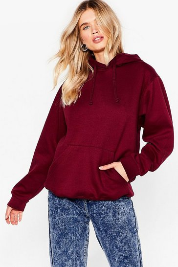 Burgundy The Wait is Over-sized Hoodie