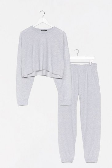 Grey Run With It Cropped Sweater and Jogger Set
