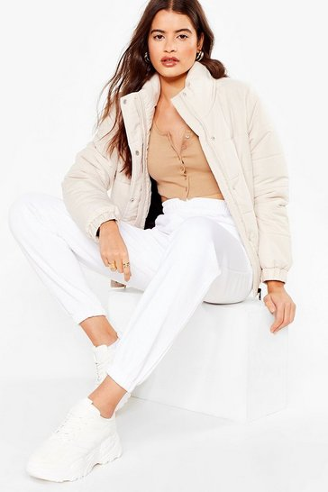 White Make a Run for It High-Waisted Joggers