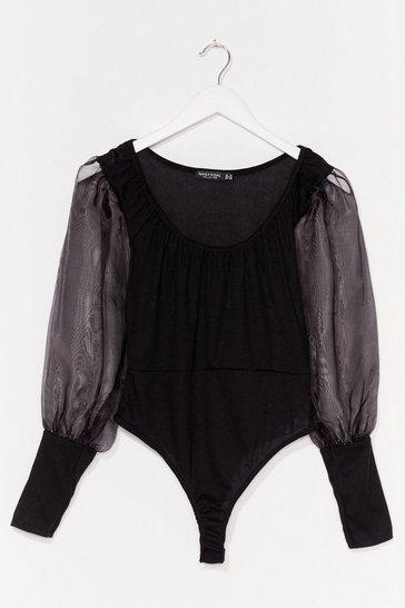 Black Ribbed Organza Sleeve Bodysuit