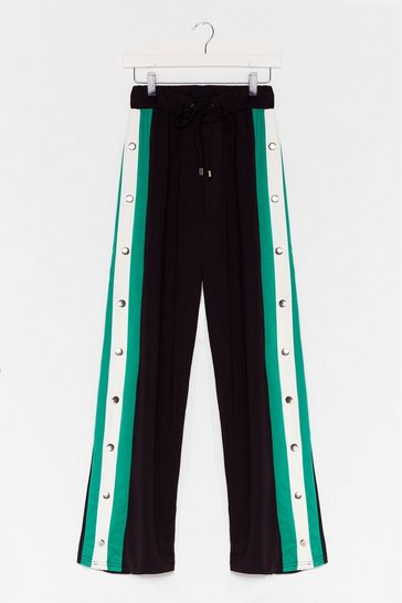 Black Snaps for You Wide-Leg Track Pants