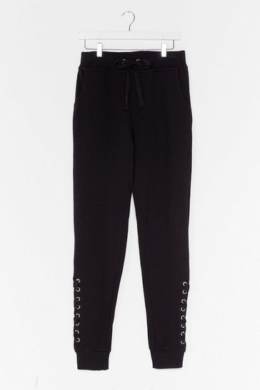 Black Weave Been There Lace-Up Joggers