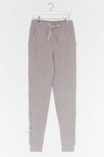Grey Weave Been There Lace-Up Joggers