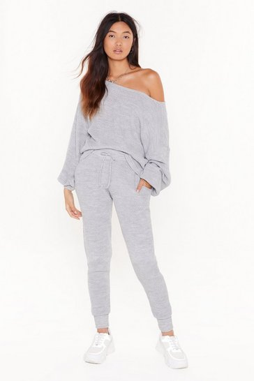 Grey Off The Shoulder Jumper and Joggers Set