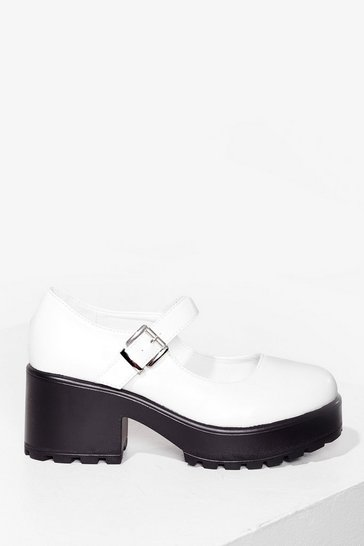 White Way to Work Faux Leather Mary Jane Shoes