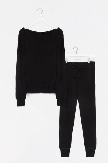 Black Tell Us About Knit Jumper and Jogger Lounge Set