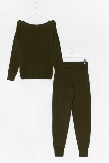 Khaki Serious Chills Sweater and Jogger Lounge Set