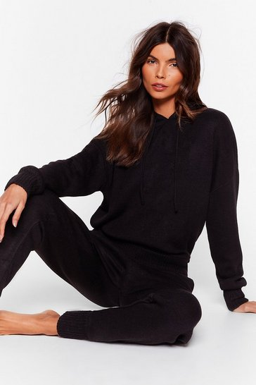 Black Drop Knit Low Sweater and Jogger Lounge Set