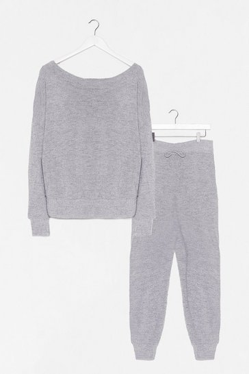 Grey marl Keep Knit Quick Sweater and Jogger Lounge Set