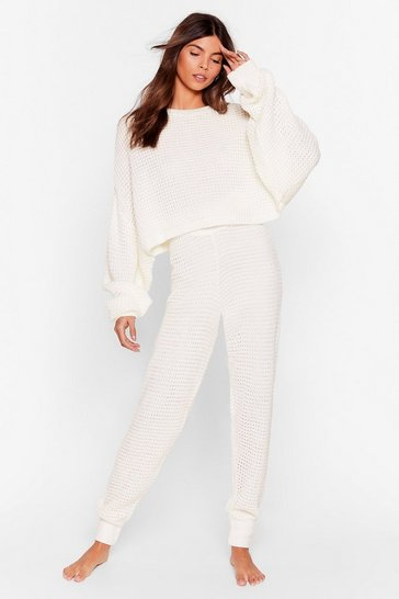Cream Lounge Your Here Jumper and Joggers Lounge Set