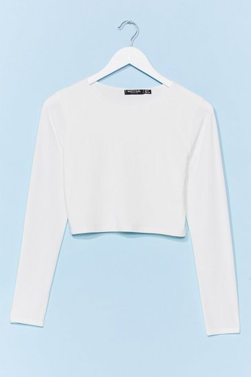 White Slink Twice Fitted Crop Top